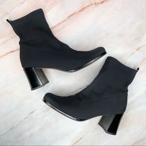Paul Green Black Nylon Pull On Ankle Boots Booties